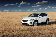 Soggiorno moderno bianco dell'automobile su un campo giallo all'autunno fotografia stock