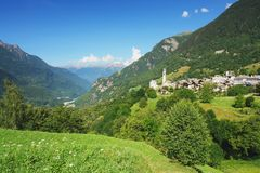 Soglio, Switzerland. View of the Soglio and Bregaglia valley in the Switzerland Royalty Free Stock Image
