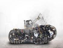 Sogliola della scarpa con sporcizia ed immondizia immagini stock libere da diritti