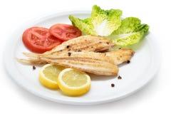 Sogliola e verdure di cuneo arrostita Solo pesce spagnolo Fotografie Stock
