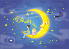Sognatore di giorno di biglietti di S. Valentino sulla luna Fotografia Stock