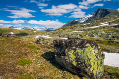 The Sognefjellsvegen, the highest mountain pass road in Northern Europe, Norway. View to Sognefjellsvegen, the highest mountain pass road in Northern Europe Royalty Free Stock Photo