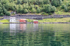 Sognefjord - fjord w Norwegia, wiosna Obrazy Royalty Free