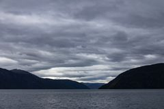 Sognefjord landscape in western Norway at blue hour Royalty Free Stock Photography