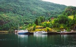 Sognefjord port in Flam, Norway, Norwegian longest Stock Image