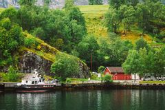 Sognefjord port in Flam, Norway, Norwegian longest Stock Images
