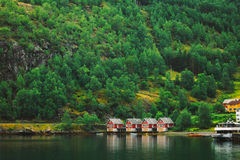 Sognefjord port in Flam, Norway. Red wooden Docks Stock Photos