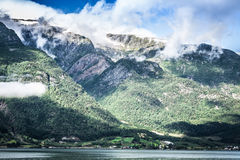 Sognefjord view on a cloudy day, Norway Royalty Free Stock Photo