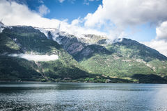 Sognefjord view on a cloudy day, Norway Stock Photography