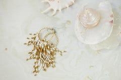 Sogni circa il mare Coperture, madreperla, fondo leggero fotografie stock libere da diritti