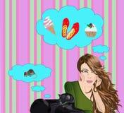 Sogni del gatto e della ragazza Fotografie Stock