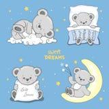 Sogni dolci fissati con Teddy Bears addormentato sveglio Illustrazione di Stock