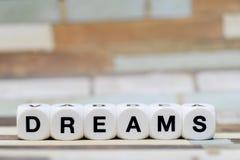 Sogni, lettere dei dadi Fotografia Stock