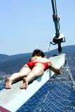 Sogni su un yacht Fotografia Stock