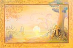 Sogni sull'isola di Tristan Ritratto di bella ragazza che dorme nell'ambiente di fantasia Pittura a olio su legno Fotografia Stock Libera da Diritti