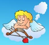 Sogno del Cupid del biglietto di S. Valentino con l'arco Fotografia Stock Libera da Diritti
