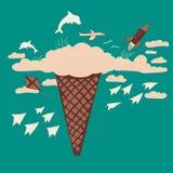 Sogno del gelato ed illustrazione di fantasia Immagini Stock