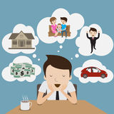 Sogno dell'uomo d'affari. Fotografia Stock Libera da Diritti
