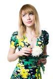 Sogno della donna con il fiore Fotografie Stock Libere da Diritti