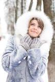 Sogno della donna di inverno Fotografia Stock Libera da Diritti