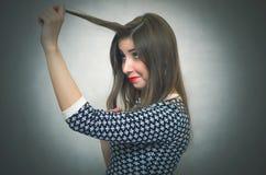 Sogno della donna Ritratto domandantesi della ragazza Fotografie Stock