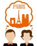 Sogno delle coppie circa la vacanza di Parigi Fotografie Stock