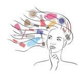 Sogno delle donne circa i cosmetici Immagine Stock