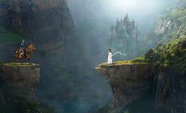 Sogno di fantasia, immaginazione, cavaliere, ragazza fotografia stock libera da diritti
