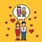 Sogno di matrimonio circa il concetto di stile di arte del pixel dei bambini Immagine Stock Libera da Diritti