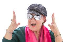 Sogno senior della donna felice per il concetto dei soldi Fotografia Stock Libera da Diritti