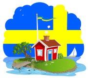 Sogno svedese del cottage di estate Immagini Stock Libere da Diritti