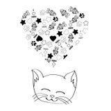 Sogno sveglio del gatto del fumetto Fotografie Stock
