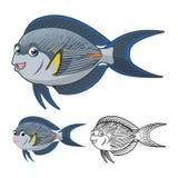 Sohal-Surgeonfish-Zeichentrickfilm-Figur der hohen Qualität umfassen flaches Design und Linie Art Version Stockfotografie