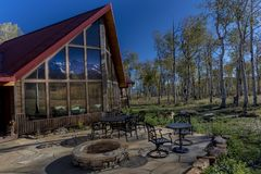 Sohm Home-Hastings Mesa, Colorado. OCTOBER 10, 2017 Aspen View Ranch - Eco Home A-Frame of photographer Joseph Sohm - Hastings Mesa, across from Last Dollar stock images