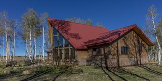 Sohm Home-Hastings Mesa, Colorado. OCTOBER 10, 2017 Aspen View Ranch - Eco Home A-Frame of photographer Joseph Sohm - Hastings Mesa, across from Last Dollar royalty free stock photography