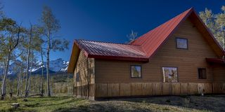 Sohm Home-Hastings Mesa, Colorado. OCTOBER 10, 2017 Aspen View Ranch - Eco Home A-Frame of photographer Joseph Sohm - Hastings Mesa, across from Last Dollar royalty free stock images