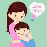 Sohn, der seine Mutter umarmt vektor abbildung
