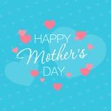 Sohn gibt der Mama eine Blume Herzen auf einem blauen Hintergrund mit einem Gruß Stockfoto
