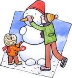 Sohn und Vater, die einen Schneemann machen Stock Abbildung