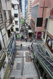 SoHo area in Hong Kong. Street escalator bridge Royalty Free Stock Photography