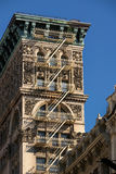 Soho building facade, Architectural ornament and fire escape, New York Royalty Free Stock Images