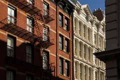 Soho building facades and fire escape, New York City Royalty Free Stock Photography