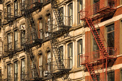 Soho building facades and fire escapes, New York City Stock Photo
