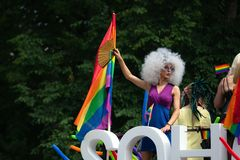 SOHO bus with drag queens at Baltic Pride event, men dressed as woman on gay parade stock images