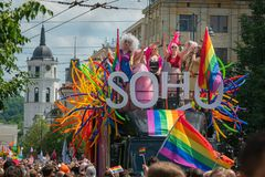 SOHO bus with drag queens at Baltic Pride event, men dressed as woman on gay parade royalty free stock photos
