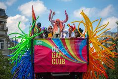 SOHO bus with drag queens at Baltic Pride event, men dressed as woman on gay parade stock photo