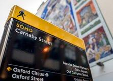 SOHO de la placa de calle de Carnaby, Londres, Reino Unido Imagenes de archivo