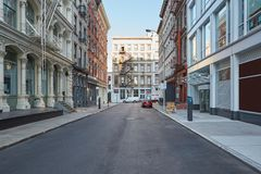 Soho empty street with cast iron buildings in New York Royalty Free Stock Photography