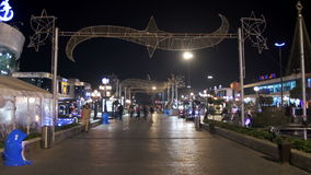 Soho fyrkant på natten i Sharm el Sheikh, Egypten stock video