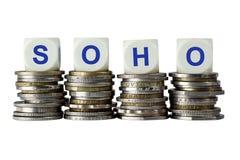 SOHO - Het kleine Bureau van het Bureauhuis Stock Afbeeldingen
